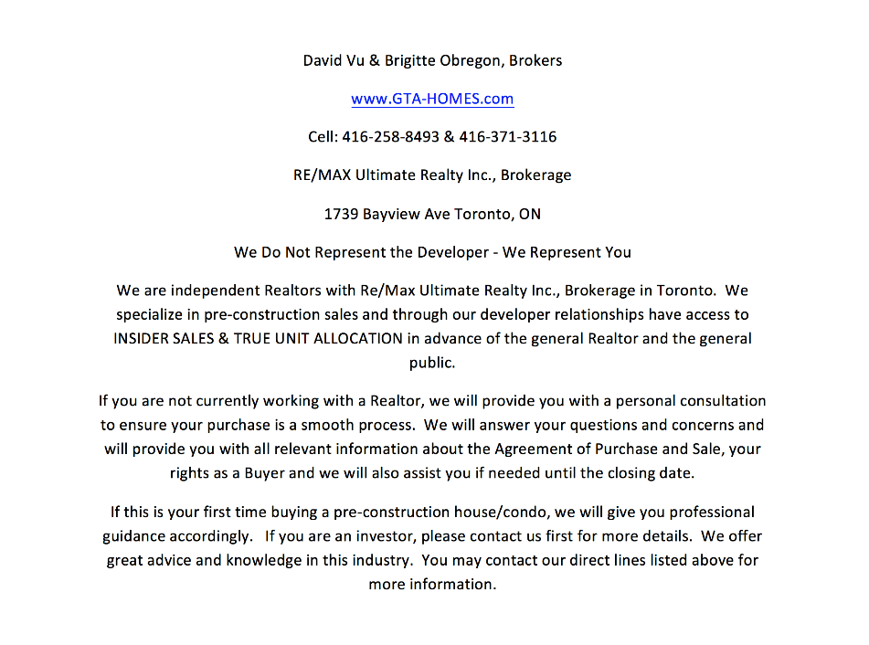 New Condo Sales Agents Contact Info